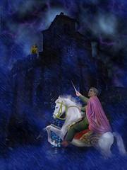 gentleman (jaci XIII) Tags: horse storm castle lady castelo lightning cavalo gentleman dama tempestade relmpagos cavalheiro mywinner gill4kleuren