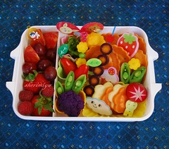 Red & Orange Ravioli Bento (sherimiya ) Tags: school fruits lunch kid healthy sweet tomatoes sheri strawberries potato grapes vegetarian bento radish raspberries ravioli obento peapods purplecauliflower satsumaimo firstgrader purplecarrots yellowcarrots oceansalad elephantheartplum sherimiya