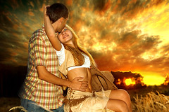 Indian Summer Love Story ([]NEEL[]) Tags: boy horse woman sun man love girl field hat forest cowboy shiny boots pair country meadow jeans hay lovestory sunshining         anawesomeshot    updatecollection luxtop100