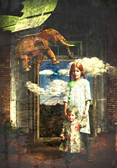 Don't move (vinciane.c) Tags: photomanipulation photoshop vintage children younggirl oldphotography flyingelephant wacomcintiq yougboy
