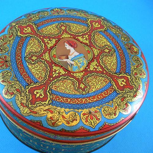 Colorful Vintage Art Deco Style Fruit Cake Tin