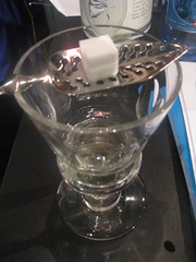 Absinthe glass with spoon & sugar cube