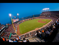 Snuggie Night at AT&T Park (kaoni701) Tags: sf sanfrancisco park city bridge urban sports night landscape bay nikon cityscape baseball dusk stadium wideangle fisheye embarcadero giants bluehour 105 fe nikkor kingstreet att 3rdstreet missionbay cardinals mlb soldout snuggy d300s