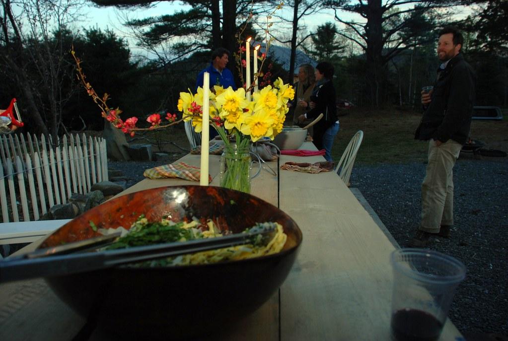 the table as the sun set