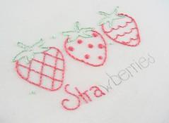 pink strawberries (Kimberly Ouimet) Tags: pink green embroidery strawberries wip stitching bigb bigbgsd