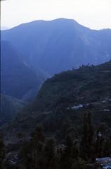 View from Loharket Campsite, Kumoan Himalaya, India (Rowan Castle) Tags: 2001 travel friends india foothills slr film asia fields himalaya himalayas himalayan terraced eos300 highquality kumoan loharket pindariglaciertrek flickrfinal nikon1india0135sie