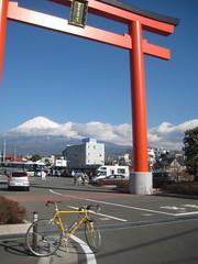 富士宮の鳥居越しに富士山と
