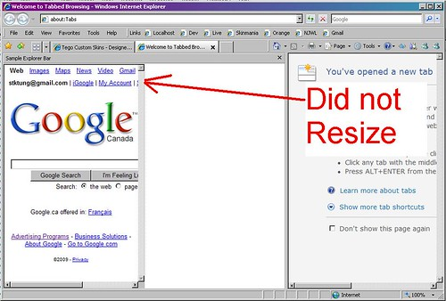 C resizing a webbrowser control hosted by an explorer for Window resize
