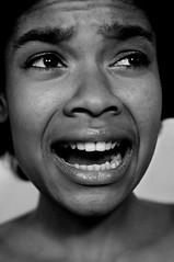 Fear (noamgalai) Tags: portrait bw woman black girl face look lady mouth photo model expression fear crying picture photograph scream expressive cry afraid yell   krystals  noamg noamgalai   fantasyshootoff jodiekaybisasor newyorkfantasyphotoshootoff