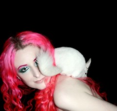 (wisely-chosen) Tags: selfportrait dawn january gimp chinchilla lightning pinkhair 2009 picnik onmyshoulder naturallycurlyhair colorfulmakeup pinkwhitechinchilla