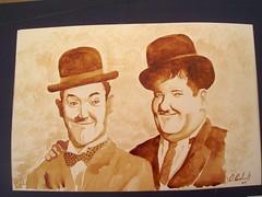 Oliver & Stanley (Goruga Roi) Tags: coffee caf oliver stanley pintor potosino elgordoyelflaco coffeepainting pinturaconcaf