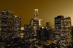 City Lights [Downtown Los Angeles] (Matt Gush) Tags: california ca plaza city sunset urban building tower skyline night america skyscraper buildings eos la los twilight downtown skyscrapers angeles union angles bank gas company southern growth socal arco deloitte citi touche