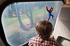 (Jack Simon) Tags: reflection window childhood train caltrain spiderman surreal creepy kai grandchild dreamy peeking dirtywindow hcsp