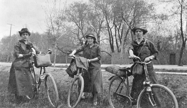 The Coles sisters on a bicycle trip from Montreal to Ottawa, QC-ON, 1916 1916, 20th century