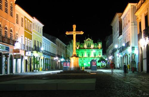 Salvador Bahia night lights Cruz Pelourinho church São Francisco