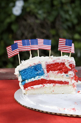 flag cake side view