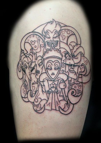 Disney villains tattoo outline