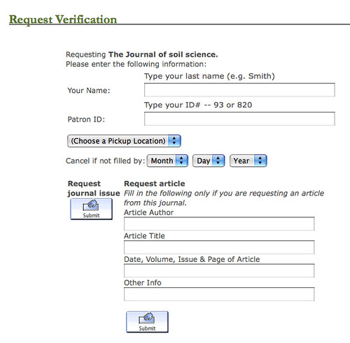 screenshot of catalog request form