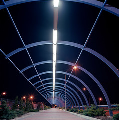 Starlight (Andrs Medina) Tags: madrid city longexposure bridge urban industry 120 6x6 tlr film architecture modern night mediumfo