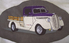 Scott's 36 Ford (fatslick70) Tags: ford truck 1936 purple embroidery sewing wheels cream machine craft pickup hobby flatbed centerline digitizing barudan
