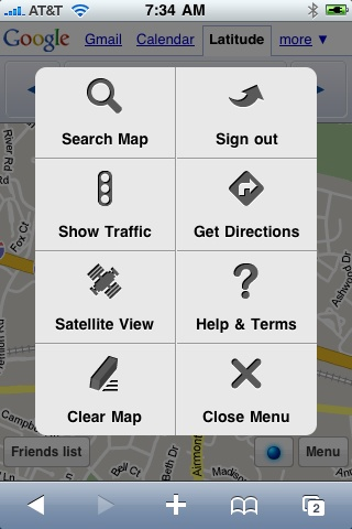 Menu for Google Latitude For iPhone