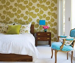 Bedroom with retro wallpaper (decorology) Tags: wallpaper green notebook au entryway greenroom greenpaint dominomagazine modernretro greendecor earthpalettes