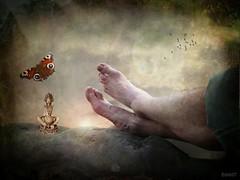 just relax (Eddi van W.) Tags: light texture love feet butterfly creativity energy handmade buddha digitalart relaxing gimp textures creativecommons meditation spiritual deepness dreamcatcher externsteine kreativitt eddi07 graphicmaster