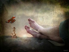 just relax (Eddi van W.) Tags: light texture love feet butterfly creativity energy handmade buddha digitalart relaxing gimp textures creativecommons meditation spiritual deepness dreamcatcher externsteine kreativität eddi07 graphicmaster