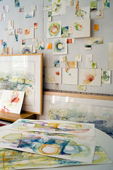 Wall of tiny Abstract Watercolors (Alyn Carlson) Tags: ocean abstract watercolor painting drawing cellular organic transparent westport attraction designsponge waterworld lyrical convertedchurch alyncarlson paulclancy moleskincolorgirl