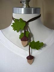 Acorn Lariat worn looped (Katy Kristin) Tags: wool leather necklace oak craft felt acorn indie lariat