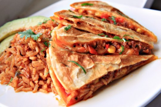 Chorizo, Corn and Red Pepper Quesadillas Header