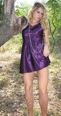 (Xena Photography) Tags: sexy nature girl vintage outside model woods purple legs blonde slip satin