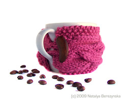 Coffee / Tea Cup Cozy by Natalya's Studio - Rose (natalya1905) Tags: birthday christmas wood red cup coffee wine tea cable gift button mug knitted sleeve winered cupcozy mugcozy natalya1905 natalyasstudio
