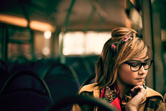 Annie (TGKW) Tags: portrait people bus public girl scarf pose glasses sitting sister expression glasgow transport jacket annie halfchinese mixedrace 8461