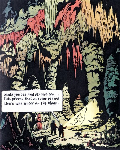 Tintin discovers water on the moon