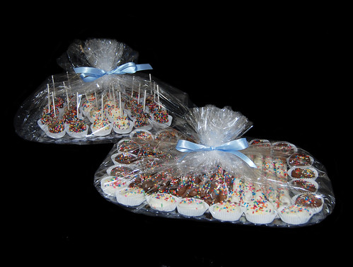 chocolate dipped sweets Bar mitzvah dessert tray wrapped for delivery