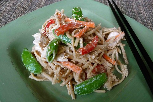 Whole Wheat (or Soba) Noodles with Peanut Sauce, Chicken & Vegetables Recipe