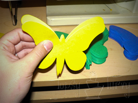 rainbow garden birthday party garland butterfly tutorial construction paper sewing