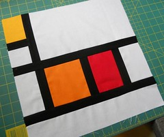 Around the Block II ~ Mondrian Block for Sheridan (Four Wise Monkeys) Tags: blue red white four star bee solids quilting wise monkeys blocks kona moden whirligigs