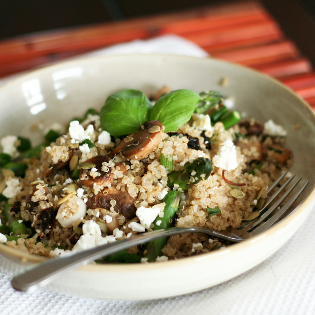 Mushroom and Asparagus Warm Quinoa • The Healthy Foodie
