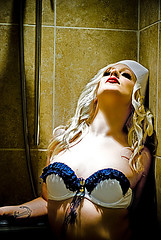 (ursularoxy) Tags: girl naked bathroom golden glow topless sailor burlesque ursularoxy