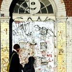 woman in graffiti shadows