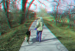 Oakhurst Park, Westminster, CO (Anaglyph 3D) (patrick.swinnea) Tags: park trees dog 3d colorado anaglyph