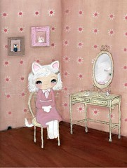 Pretty Kitty (the poppy tree) Tags: pictures wood pink wallpaper white reflection girl animal daisies cat vintage mirror frames chair kitten floor antique room vanity picture kitty fluffy pearls fantasy daisy dresser fishbone crackle mousehole 40s wartimes