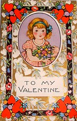 Girl with Flowers (Wyld_Hare) Tags: vintage valentine postcards