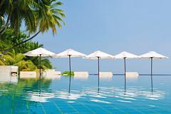 (muha...) Tags: blue white holiday reflection tourism beach water pool umbrella island chair calm palm swimmingpool destination maldives muha huvafenfushi