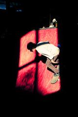 Into the light # 02 (Julien Ratel ( Jll Jnsson )) Tags: windows light red grenoble canon rouge ramp shoes interior interieur competition slide battle sneakers illuminated tokina event skate baskets skateboard skater rider fentre grind 2009 competitor rampe intothelight 1224f4 40d labifurk bifurk adversaire julienratel heroesandzeros julienratelphotography gangofskaters