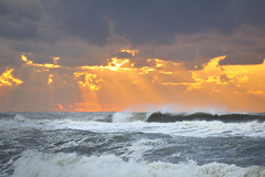 East Hampton Cloudburst (Paws2008) Tags: ocean orange storm water sunrise nikon waves spray easthampton cresting d700