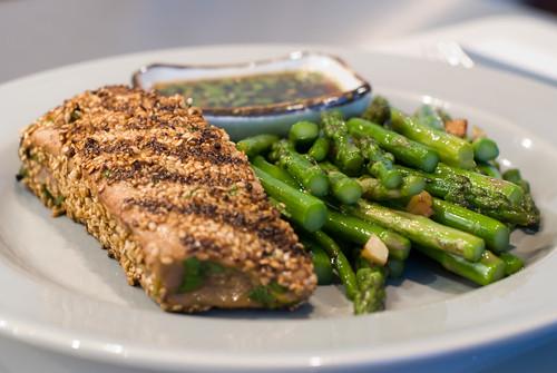 Seared Sesame Encrusted Tuna with Garlic Asparagus