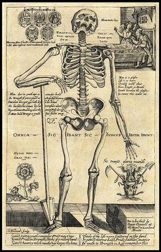 A skeleton leaning on a spade by an open grave 1620s